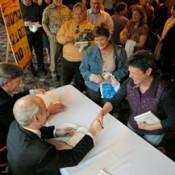 Michael Sandel, signing books