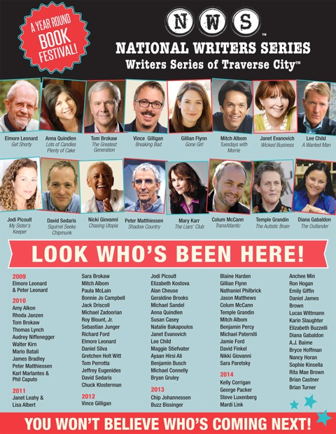 National Writers Series Past Author lineup