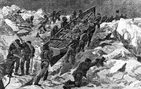 "Marooned crew members of the U.S.S. Jeannette, which sank in the Arctic Ocean in 1881. Credit Engraving from ""In the Kingdom of Ice"" (U.S. Naval Historical Center)"