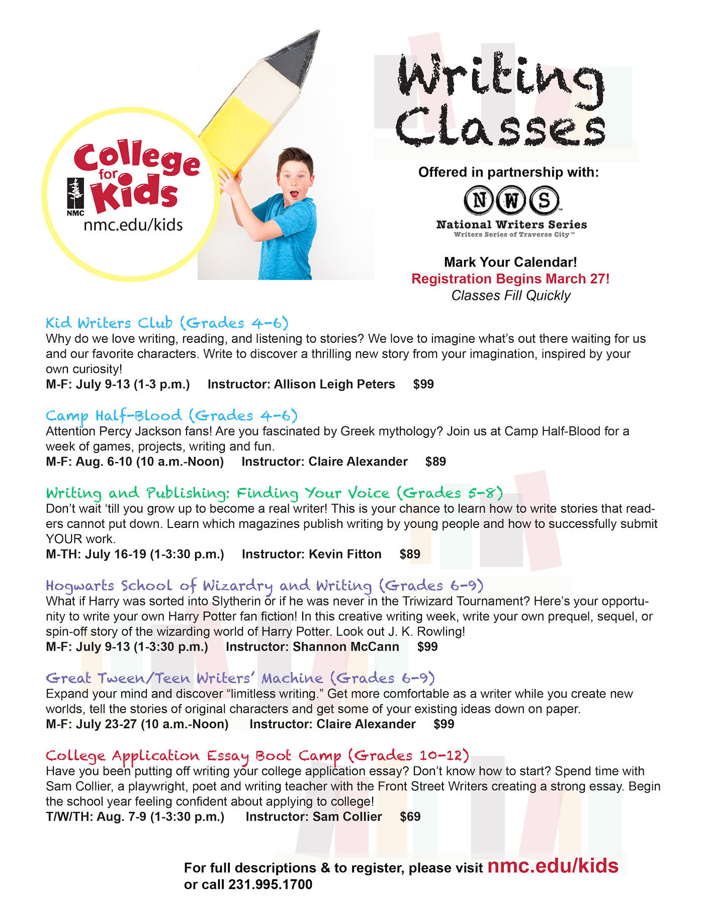 Sign up for classes on NMC for kids website!