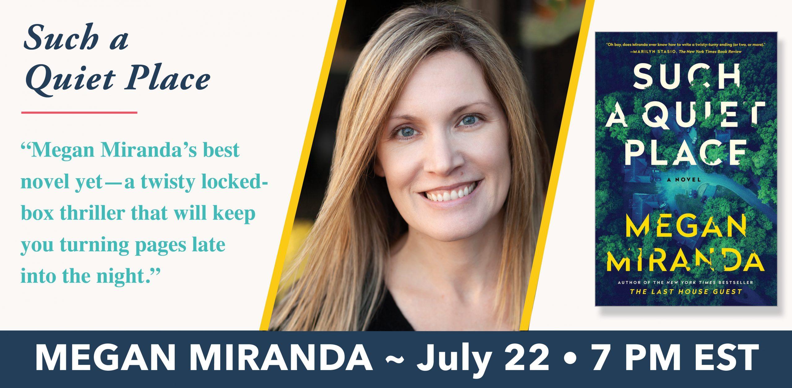 PRESS RELEASE: An Evening with Megan Miranda